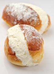 Maritozzo with whipped cream - italian pastry