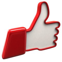 Illustration of red thumbs up icon