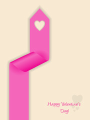 Valentine's day greeting with curling ribbon
