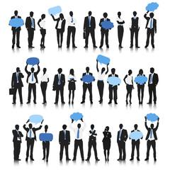 Busness people blue speech bubble concept