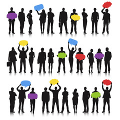 Business team social networking speech bubble concept