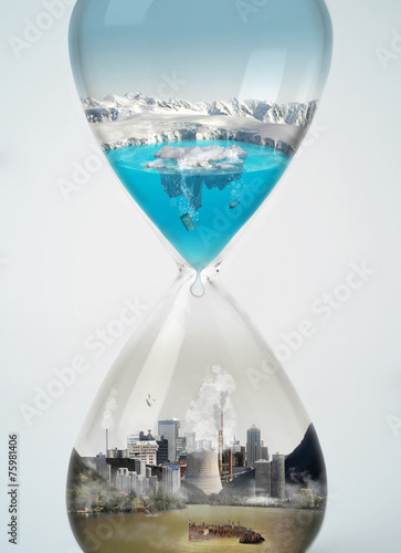 Pollution, save earth, eco concept in hourglass. - 75981406