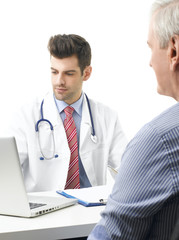Young male doctor with old patient
