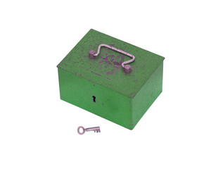 Green moneybox isolated