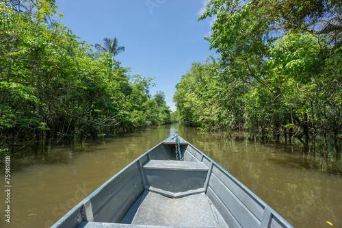 Leinwanddruck Bild Boat over canal in Rio Negro, amazon river, Brazil