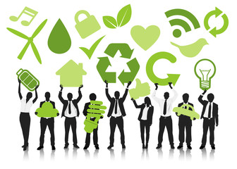 People Bissiness Green Icons Recycle Reduce Reuse Concept