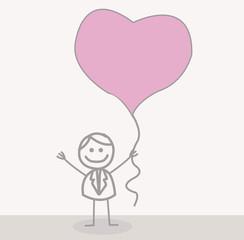 Funny Doodle : Businessman Love Balloon
