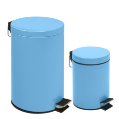 two blue waste bins isolated