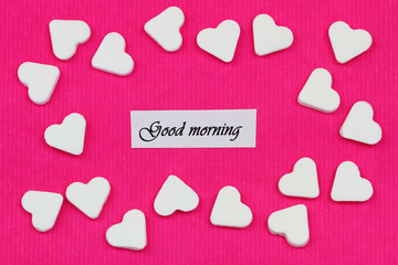 Good morning card with sugar hearts on pink background