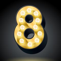 Realistic dark lamp alphabet for light board. Number 8