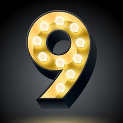 Realistic dark lamp alphabet for light board. Number 9