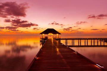 Water cafe at sunset - Maldives