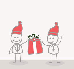 Funny Doodle : Businessman give christmas gift