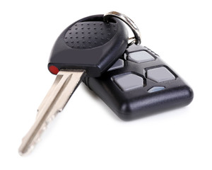 Car key with remote control isolated on white