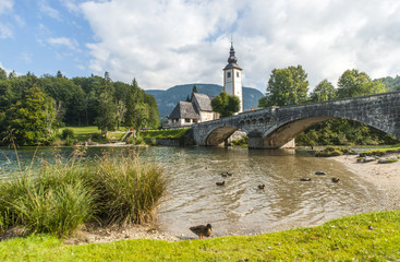 Bohinj lake with church and bridge, Slovenia