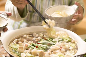 もつ鍋を食べる
