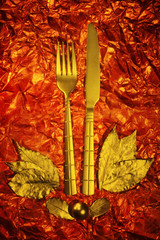 retro vintage composition with fork and knife emblem