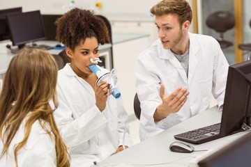 Medical students working together in the lab