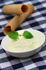 Vanilla ice cream garnished with organic mint and wafer