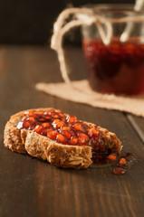 homemade pomegranate jam on bread