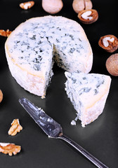 Blue cheese with nuts and blade on metal tray background