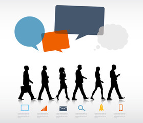Group Business People Walking Speech Bubble Concept