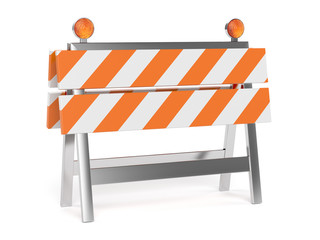 3d render of under construction barrier with road cones