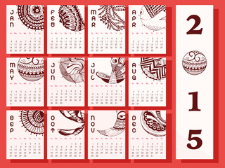 Creative yearly calendar of New Year 2015.
