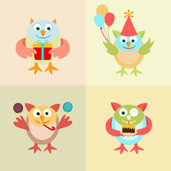 Set of funny owl cartoon for Birthday.