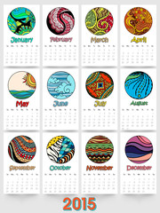 Yearly calendar of New Year 2015.
