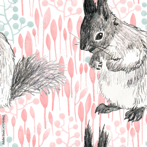 pencil sketch seamless pattern with branches and squirrels - 75984862
