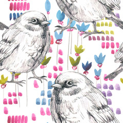 pencil sketch seamless pattern with flower and bird sparrow