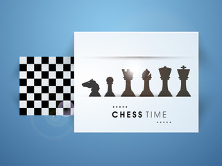 Chess figures with its board on blue background.