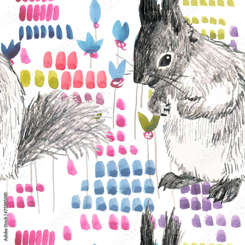pencil and watercolor sketch seamless pattern squirrels - 75985081