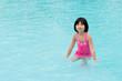 Little Asian girl in swimming pool