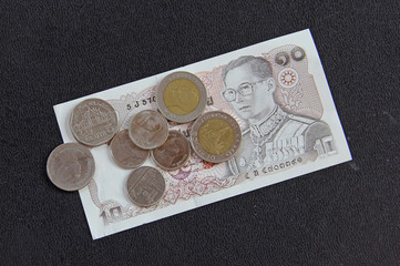 Thailand money Baht Banknote and coin