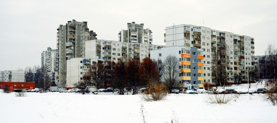 Vilnius city houses in Seskine district. Lithuania.
