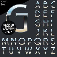 Silver chrome and aluminum vector alphabet set. Artdeco normal