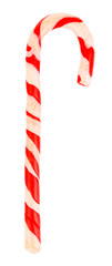 Sweet Christmas candy cane isolated on white