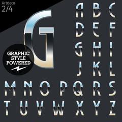 Silver chrome and aluminum vector alphabet set. Artdeco