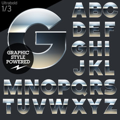Silver chrome and aluminum vector alphabet set. Bold