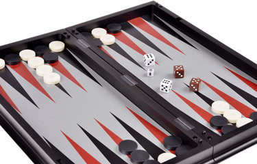 Leisure: board games backgammon with chips and dice isolated