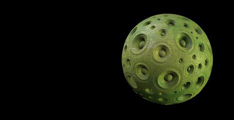 3d green speaker sound system planet over black