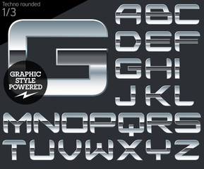 Silver chrome and aluminum vector alphabet set. Techno rounded