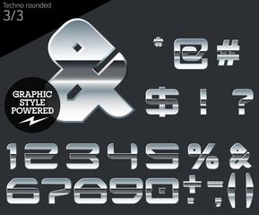 Silver chrome and aluminum vector alphabet set. Techno rounded.