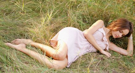 romantic girl on the grass