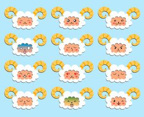 Sheeps emoticons..Vector illustration.