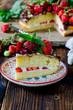 Sponge cake with cream, strawberries and chocolate - 75986216