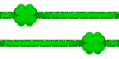 2 Clover Double Glitter Ribbon Horizontal Green