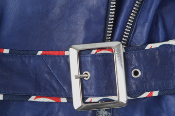 Dark blue leather texture; details of garment